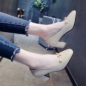 珍珠韓版淺口粗跟高跟方頭復古奶奶鞋【多多鞋包店】z5537