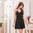 性感情趣睡衣 甜美誘人 黑色繞頸式深V柔緞面面睡衣《SV7046》HappyLife