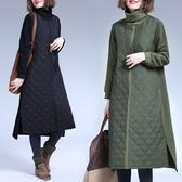 大尺碼洋裝秋冬復古夾棉保暖洋裝寬鬆中長款過膝高領拼接加厚洋裝女 咖啡/綠/黑 M-2XL