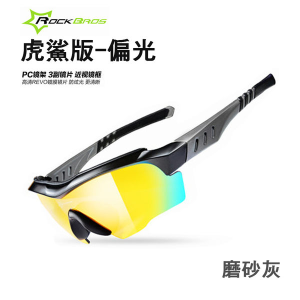 【紅荳屋】ROCKBROS 偏光騎行眼鏡 男女款户外運動防風自行車眼鏡 『虎鯊版』 現貨+預購