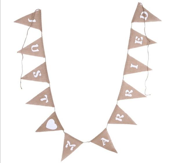 復古麻布JUST MARRIED 三角旗婚禮裝飾拉花拉旗字母橫幅12片─預購CH3330