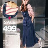 SISI【P6020】甜美俏皮單寧排扣牛仔吊帶裙單寧背心裙牛仔裙