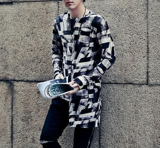 FINDSENSE品牌 男 時尚 街頭 潮 不規格下擺設計 特色圖案 長袖襯衫