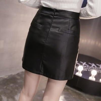 皮革短裙-時尚潮流個性鉚釘女裙子73kj51【巴黎精品】