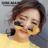 時尚太陽鏡女新款圓形粉色墨鏡韓國潮人復古大框偏光太陽眼鏡(送拉鏈盒)