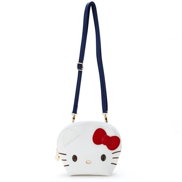 〔小禮堂〕Hello Kitty 大臉造型半圓皮質拉鍊斜背包《白》收納包.手拿包.外出包 4901610-51327