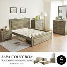 鄉村風 5尺床組 SARA莎拉鄉村系列實木雙人房間組-4件式(床架+床頭櫃+三抽櫃+化妝台)/H&D東稻家居
