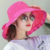 新款韓版春太陽帽女戶外防曬可折疊時尚布帽出游遮陽帽子 qf4400『小美日記』