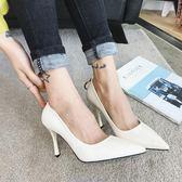 高跟鞋女 尖頭高跟鞋 秋季新款 女時尚百搭圓扣細跟單鞋顯瘦韓版女鞋子《小師妹》sm3575