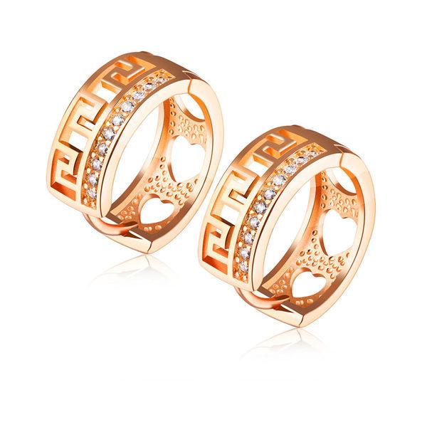 【5折超值價】最新款特色紋路鑲鑽造型銅鍍香檳金女款耳飾