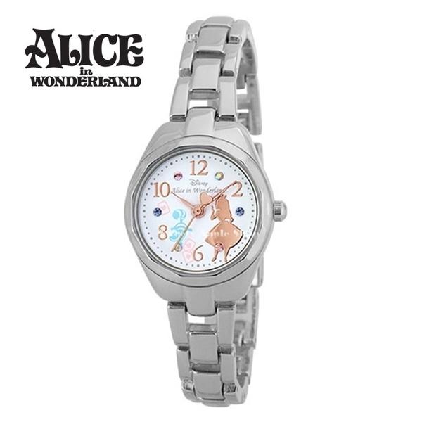 日本正版限定 SUN FLAME 迪士尼 愛麗絲 & 柴郡貓 時尚腕錶 / 手錶