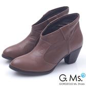 G.Ms.*首爾街頭-全真皮簡約尖頭V口粗跟踝靴*深咖啡