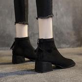 單款軟皮馬丁靴女英倫風絲襪靴子女2021秋冬新款粗跟短靴中跟百搭 夏季新品