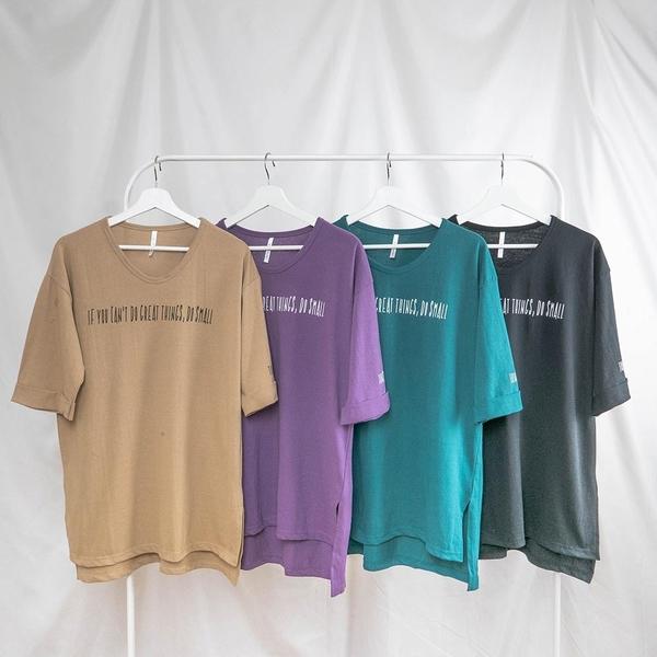 韓國女裝 英文金句拼字落肩短袖T恤【C1059】