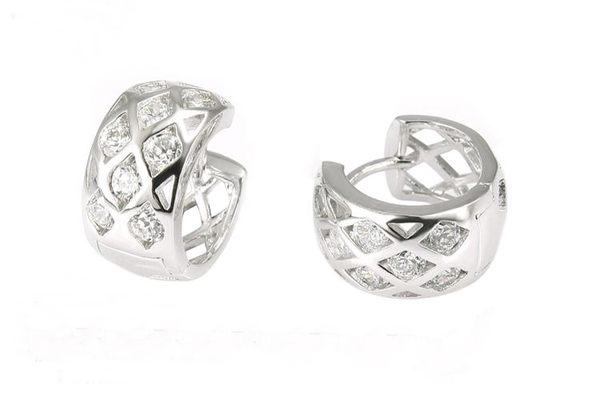 防抗過敏 菱格紋 天然白水晶 寬版耳圈扣耳環-銀 新娘飾品