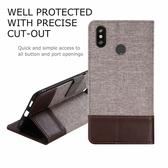 小米 Max 3 十字紋拼色 牛皮布 掀蓋磁扣手機套 手機殼 皮夾手機套 側翻可立式 外磁扣皮套 max3