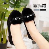 [Here Shoes]秋冬韓版低調時尚蝴蝶結毛毛鞋女尖頭包鞋娃娃鞋跟鞋低粗跟─AW118