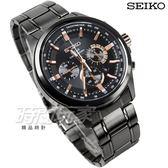 SEIKO 精工錶 環保太陽能 三眼多功能計時碼錶 日期 不銹鋼 IP黑電鍍x玫瑰金 男錶 SSC695P1-V175-0ER0SD