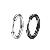 316L醫療鋼 大款弧形素面 耳環耳圈扣-銀、黑 防抗過敏 單支販售
