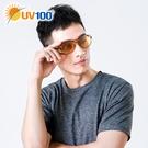UV100 防曬 抗UV Polarized變色太陽眼鏡-皮革鏡腳