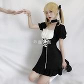 日系泡泡袖洋裝女仆裝軟妹少女lolita可愛學院風哥特式小黑裙 快速出貨