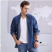 (1111購物節)牛仔襯衫夏季棉質中年牛仔襯衫男時尚薄款寬鬆長袖加肥大碼襯衣外套工作服