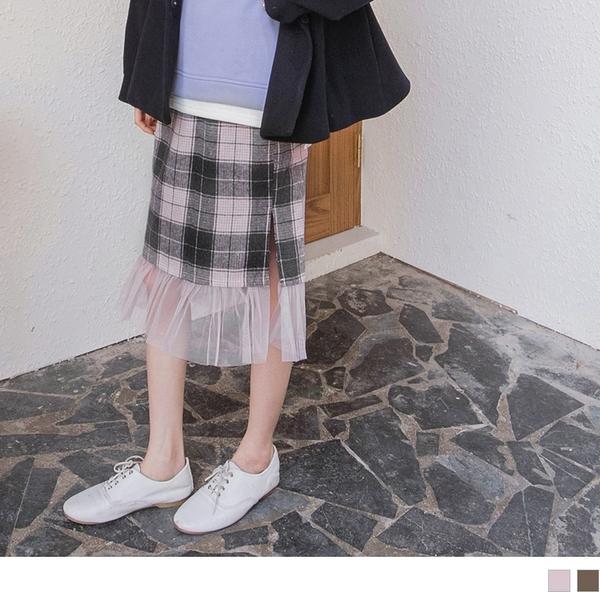 《CA1765》溫暖毛呢格紋拼接網紗裙擺鬆緊長裙 OrangeBear