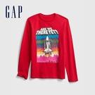 Gap男童 活力創意印花圓領長袖T恤 647996-紅色