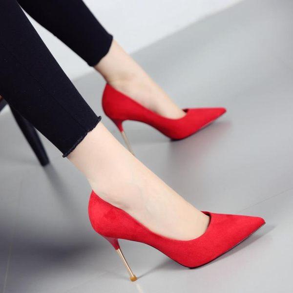尖頭細跟高跟鞋 百搭絨面淺口紅色婚鞋【多多鞋包店】z3325