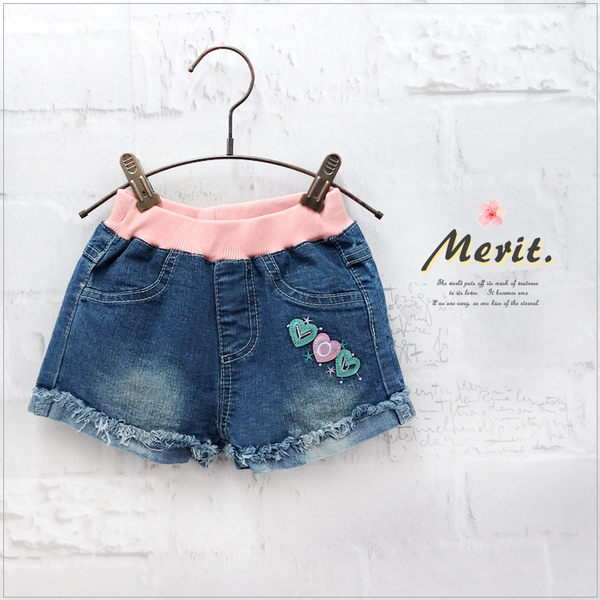粉嫩愛心刺繡牛仔短褲 女童 日系 甜美 可愛 抽鬚 反摺 刷色 牛仔 短褲  熱褲 童裝