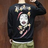 韓版 男士長袖衛衣時尚藝術畫印花長袖打底衫男春裝休閑裝大碼花色衛衣 韓先生