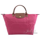 茱麗葉精品【全新現貨】Longchamp Le Pliage 折疊短肩帶手提包.莓桃 M #1623