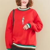 泳衣女孩刺繡內刷毛大學T-大尺碼 J2347 獨具衣格
