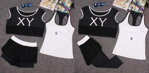 韓國春夏新款瑜伽服套裝三件套女短袖背心休閒運動跑步健身喻咖服   -cmx001