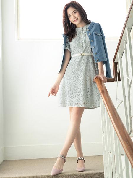 單一優惠價[H2O]縫珠裝飾背後有蝴蝶結綁帶設計薄牛仔外套 - 深藍/淺藍色 #9693004