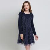中大尺碼~吊帶裙假兩件式長袖連衣裙(L~5XL)