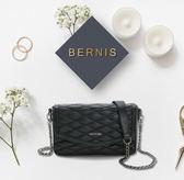 BERNIS翻蓋小香包-小羊皮菱格紋系列BNA18042BK