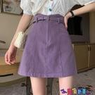 牛仔短裙 高腰A字半身裙女夏季2021新款小個子防走光包臀裙子紫色牛仔短裙寶貝計畫 上新