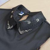 假領子襯衫假領片 背後扣寶石款洋裝帽T大學T針織衫內搭黑色白色[E1475] 預購.朵曼堤洋行