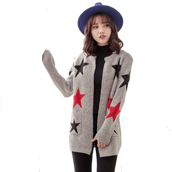 星星款 中長加厚寬鬆長袖毛衣外套 MUC15009
