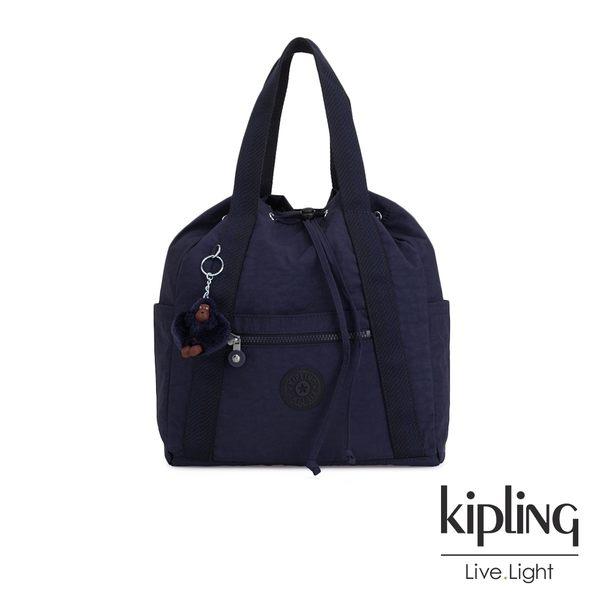 Kipling 復古歐風墨水藍兩用側背後背包-小-ART BACKPACK S
