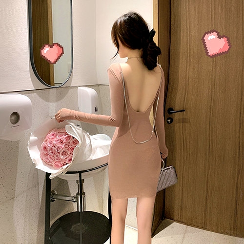 克妹Ke-Mei【AT63437】Ke-Mei獨家自訂款性感大露背鍊鎖洋裝