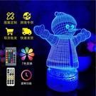 新鮮貨 聖誕雪人觸摸七彩3D視覺燈送朋友生日禮物3D創意情調氛圍小夜燈