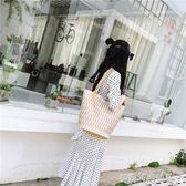 刺繡帆布水桶包大包包女新款韓版女包單肩包手提包女 〖滿千折百〗