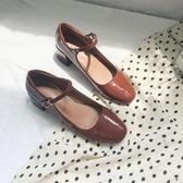 lolita鞋小皮鞋女日系復古森女2020秋款百搭淺口粗跟單鞋女瑪麗珍lolita鞋 衣間迷你屋