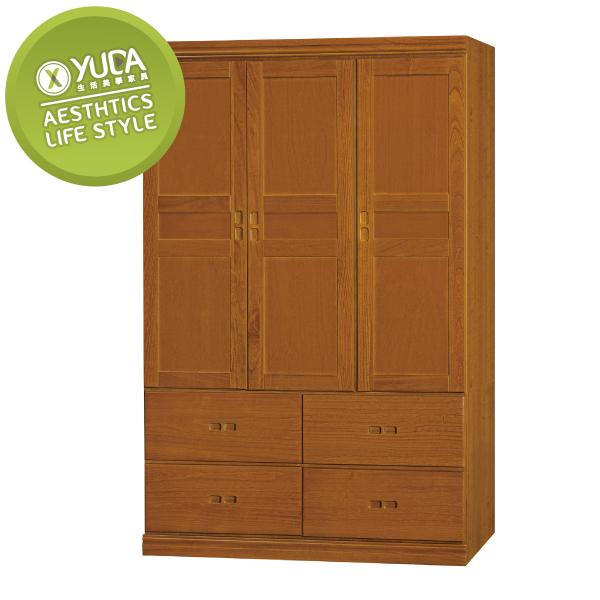 衣櫃【YUDA】懷舊 中式 實木 4*6尺 4大抽 衣櫥/櫥櫃 K9F 190-3