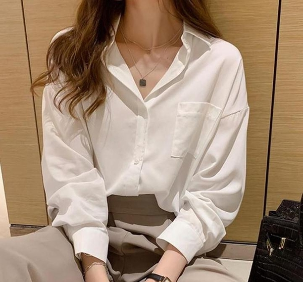 襯衣 襯衫女2020新款秋裝休閒設計感小眾寬鬆上衣雪紡長袖職業白襯衣夏 琪朵市集