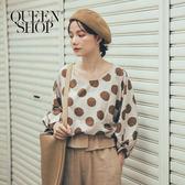 Queen Shop【01096314】大地配色大圓點棉麻上衣 兩色售*現+預*