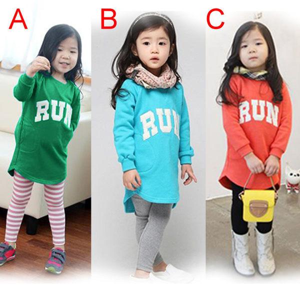 韓版《英文字母RUN》長版 長袖上衣