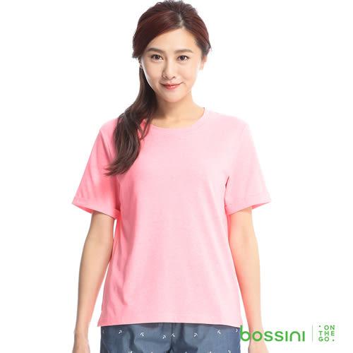 素色寬版圓領T恤15玫瑰色-bossini女裝